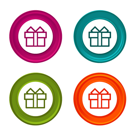 Gift box icons. Present signs. Colorful web button with icon.