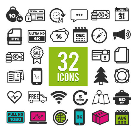 Set of flat icons for web, mobile apps and interface design: shopping, travel, finance, business, communication, media, transportation, fitness, summer, computer, easter, christmas, device
