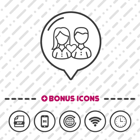 Couple with Heart icon thin line Bonus Icons. Eps10 Vector. Illustration