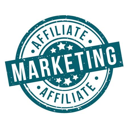 affiliate marketing round blue grunge stamp badge Illustration