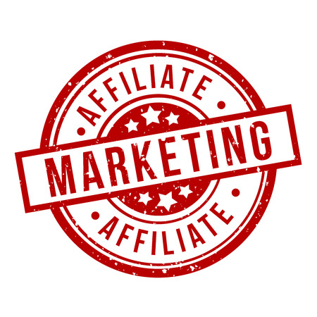 affiliate marketing round red grunge stamp badge