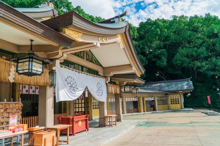 Beautiful shrine in fukuoka city with nice sky background