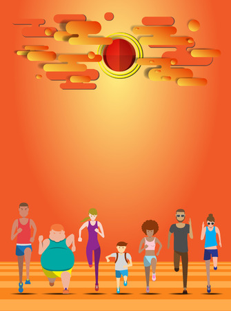 weight loss success: Everybody running when sunset use for running event, fun run, marathon run, charity run and trail run illustration and avatar vector set Illustration