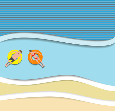 pape: Couple floating on the beach with beautiful sea background paper cut style vector illustration