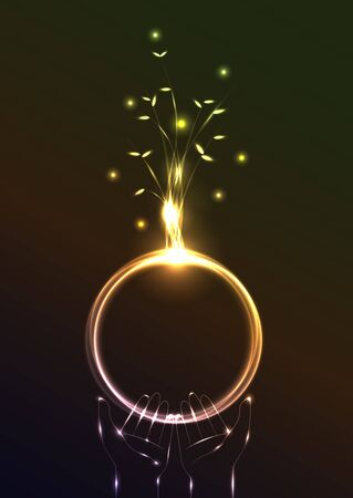 futuristic nature: Beautiful abstract lighting effect and earth symbolic vector illustration