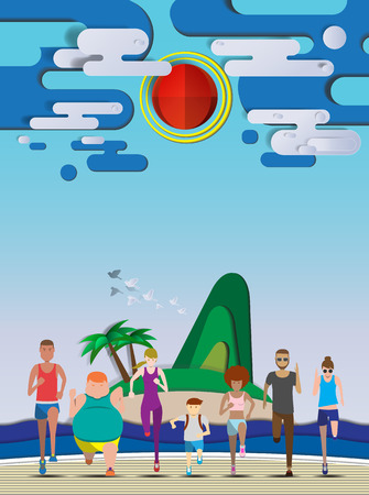 weight loss success: Everybody running on the beach use for running event,  illustration and  avatar vector set
