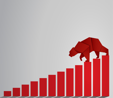 bearish market: Bear paper art and red bar paper art for stock market vector and illustration Illustration