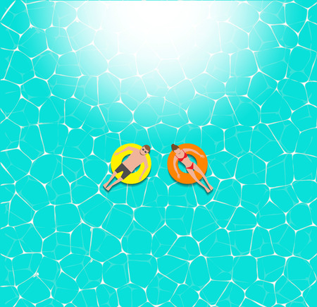 beach ad: Couple floating on the beach with beautiful sea back ground vector illustration