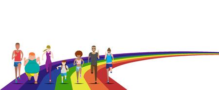 Todo el mundo se puede ejecutar en el uso del arco iris para evento de ejecución, carrera divertida, maratón, funcionamiento de la caridad y la pista de carrera de la ilustración y el conjunto de vectores avatar