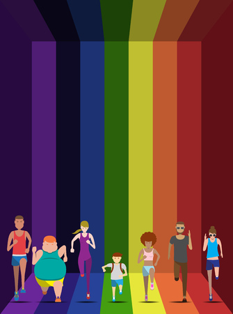 weight loss success: Everybody can run on the rainbow use for running event, illustration and  avatar vector set Illustration