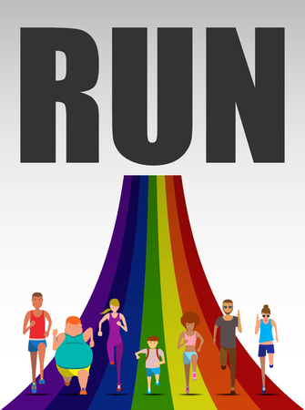 weight loss success: Running character design on the rainbow use for running event  fun run,marathon run, charity run and trail run, illustration and vector set