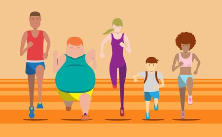 Todo el mundo puede funcionar sobre la que ejecutar, carrera divertida, mini maratón, maratón, medio maratón, funcionamiento de la caridad y la pista de carrera de la ilustración y el conjunto de vectores Ilustración de vector