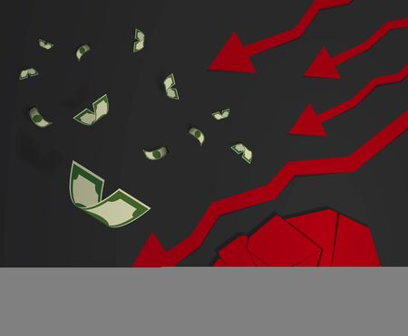 bearish business: Bear paper art and red arrow paper art for stock market vector and illustration