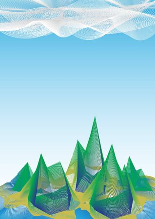 Abstract mountain and sky polygon and line background Illustration