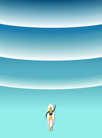 Woman surfing with the wave vector illustration