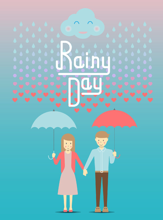monsoon clouds: Loving in the rain, rain drop become to heart vector and illustration
