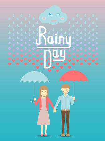 rain drop: Loving in the rain, rain drop become to heart vector and illustration