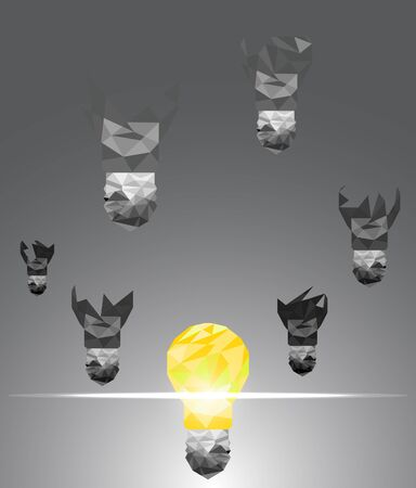 scatter: Lightbulb explode and scatter abstract polygon background vector illustration