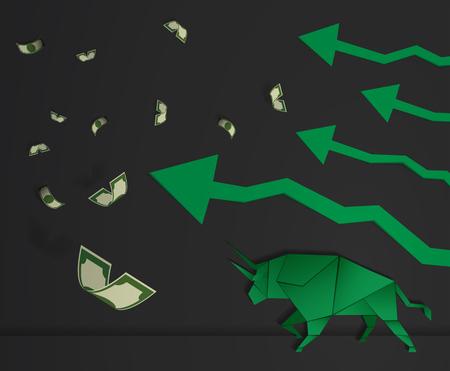 bullish: Origami Bull paper art and green arrow paper art for stock market vector and illustration Illustration