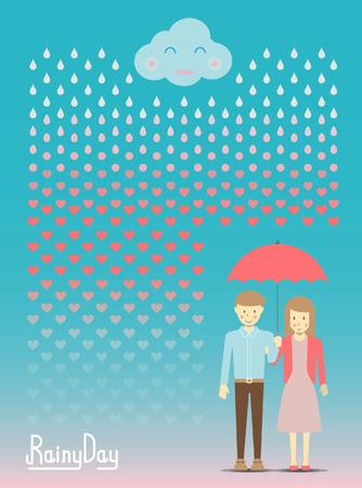 kropla deszczu: Loving in the rain, rain drop become to heart vector and illustration