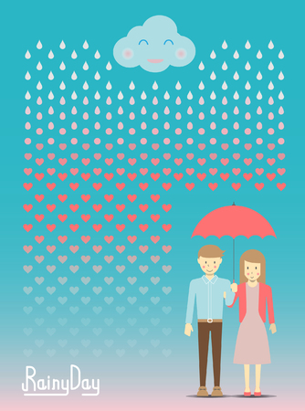 Loving in the rain, rain drop become to heart vector and illustration