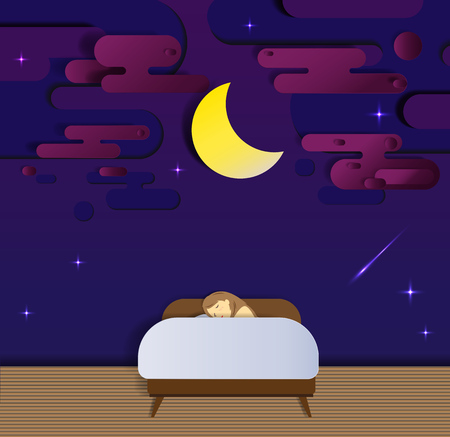 bedtime: Bedtime and sleeping in the night paper cut style vector illustration