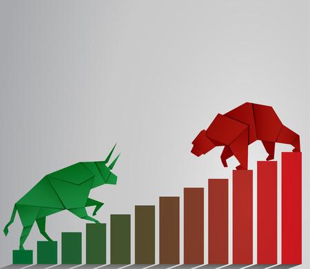 Bull and Bear carta arte e rosso bar arte per il mercato azionario vettoriale e illustrazione