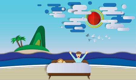 happy couple in bed: Wake up and sleeping in the bedroom feeling like on the beach on sunny day paper cut style vector illustration