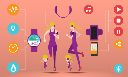 smart girl: Cute girl running wear smart gadget, smart watch and smart phone with icon and  infographic illustration and vector set