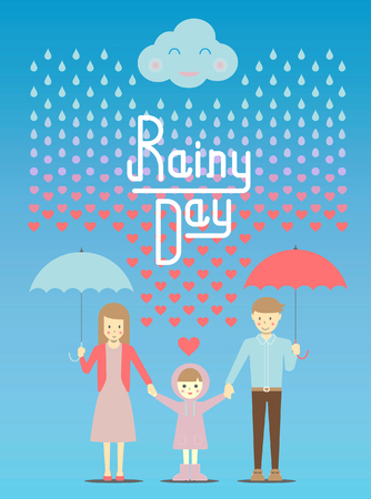 become: Loving in the rain, rain drop become to heart vector and illustration