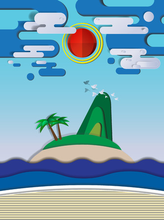 Island and the beach paper cut style vector illustration Illustration