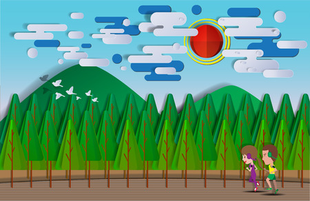 Cute cartoon running in the park with paper art style background vector illustration Illustration