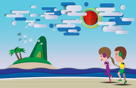 charity collection: Cute cartoon running on the beach with paper art style background vector illustration