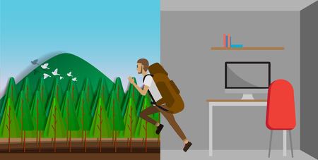 run out: Man run out from the workplace and go to the wild on vacation vector illustration