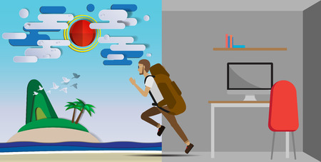 run out: Man run out from the workplace and go to the beach on vacation vector illustration