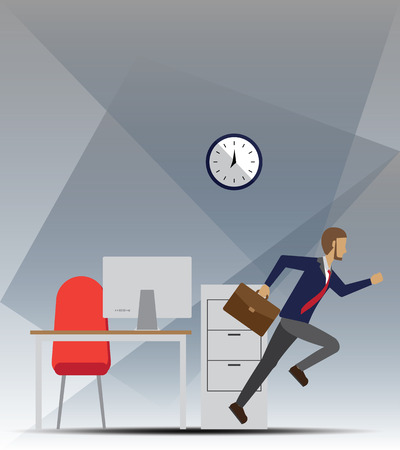 run out: Men run out from the work place in rush hour vector illustration