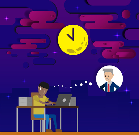 overtime: Employee work overtime with paper art background and moon clock vector illustration Illustration