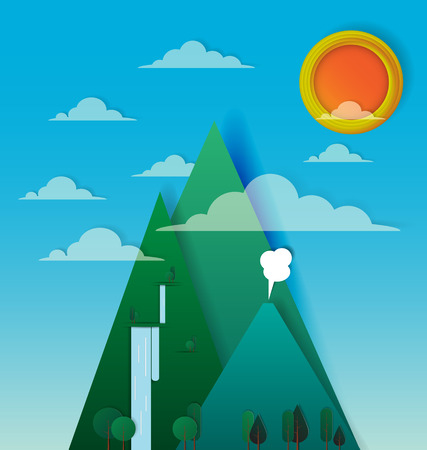 Beautiful mountain landscape paper art with sunshine vector and illustration
