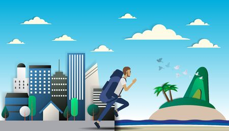 run out: Man run out of city to the beach paper art vector illustration