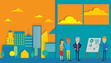 casual business meeting: Casual Business People working in the city Presentation Flip Chart Finance; Business people Team Training Conference Meeting Flat Vector Illustration. Illustration