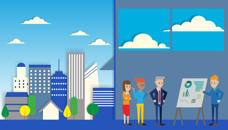 casual business team: Casual Business People working in the city Presentation Flip Chart Finance; Business people Team Training Conference Meeting Flat Vector Illustration. Illustration