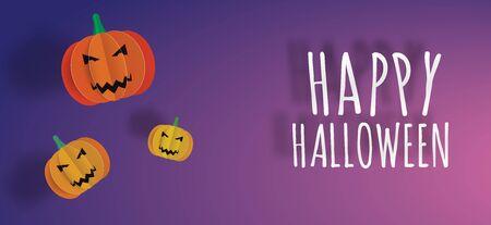 illustraion: Happy Halloween paper art 3d greeting background vector illustraion Illustration