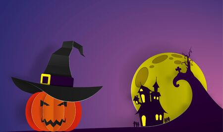 Happy Halloween paper art 3d greeting background vector illustraion Illustration