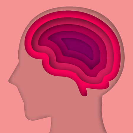 layer style: Paper art style brain layer cut vector illustration