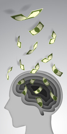layer style: Paper art style brain layer cut with banknote flow vector illustration
