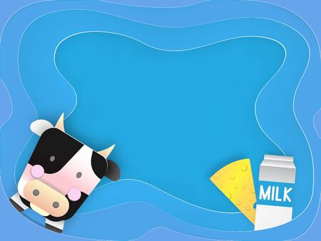 cute cartoon illustration of a cow and products we gain from her in paper art 3d layer style Illustration