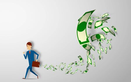 workteam: businessman running away with briefcase full of money banknotes fly away vector illustration