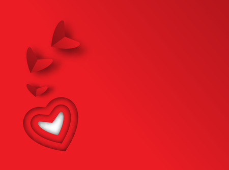 st valentin: Background for design to Valentines Day. Decorative heart from red heart. View from above.Paper art with 3d layer Valentines Day concept