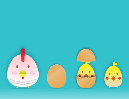 Chcken and egg paper art style 3d vector illustration set Vectores