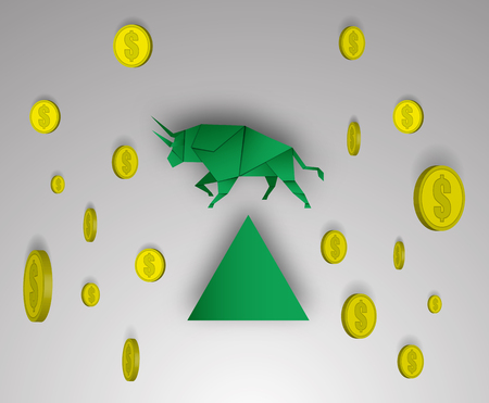 Bull paper art with money for stock market vector and illustration